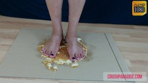 Mature Donna's Barefoot Cake Trample