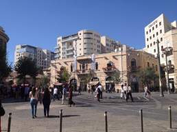 Square in West Jerusalem where people left candles and memorials to the boys who were kidnapped and killed