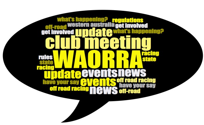 Come along to the WAORRA Club Meeting