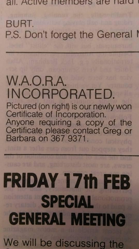 WAORRA newsletter excerpt 1983