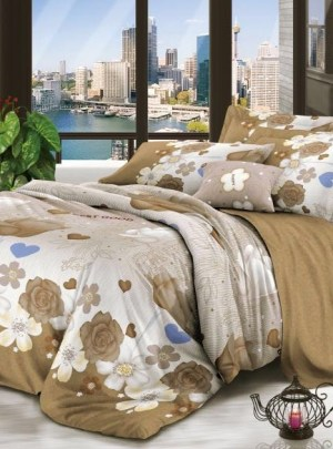 Queen Bedding Brown And White Set