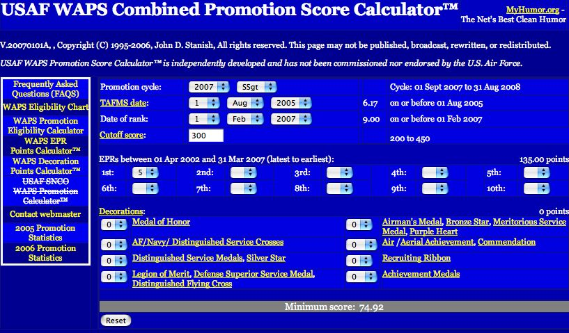 WAPS Combined Promotion Score Calculator