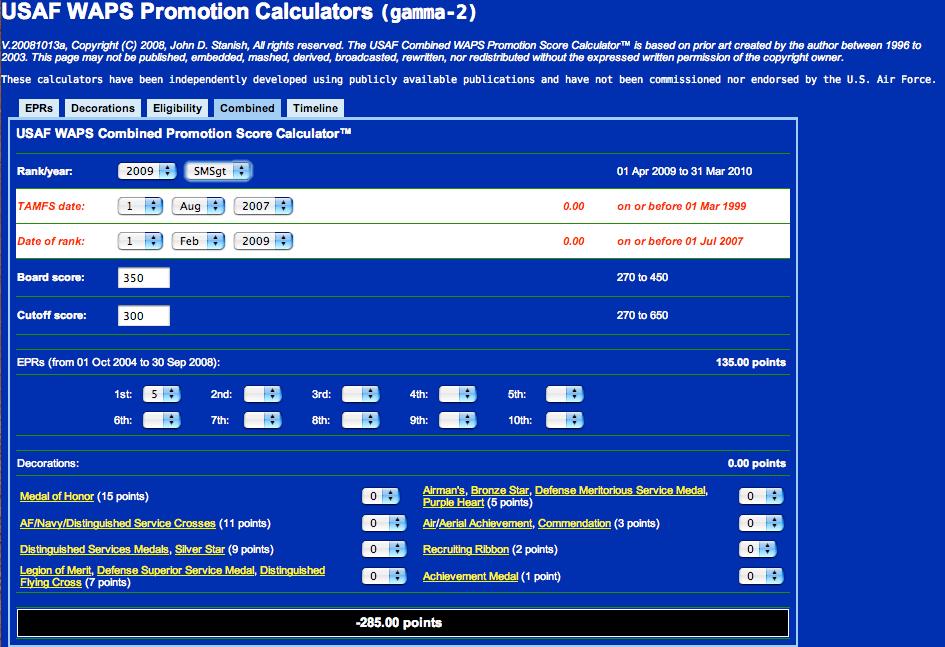 USAF Combined WAPS Promotion Score Calculator™ - SMSgt