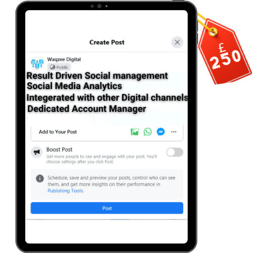 waqzee affordable Social media management packages in the UK
