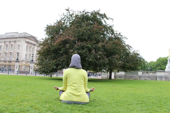Yoga during my recent visit to England. You can take care of your health, mind and body anywhere, any place.