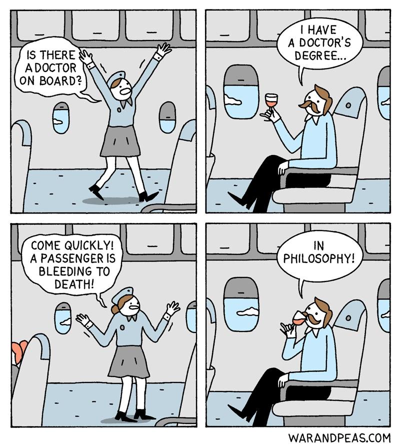 war-and-peas-a-doctor plane philosophy scientist medical funny comic