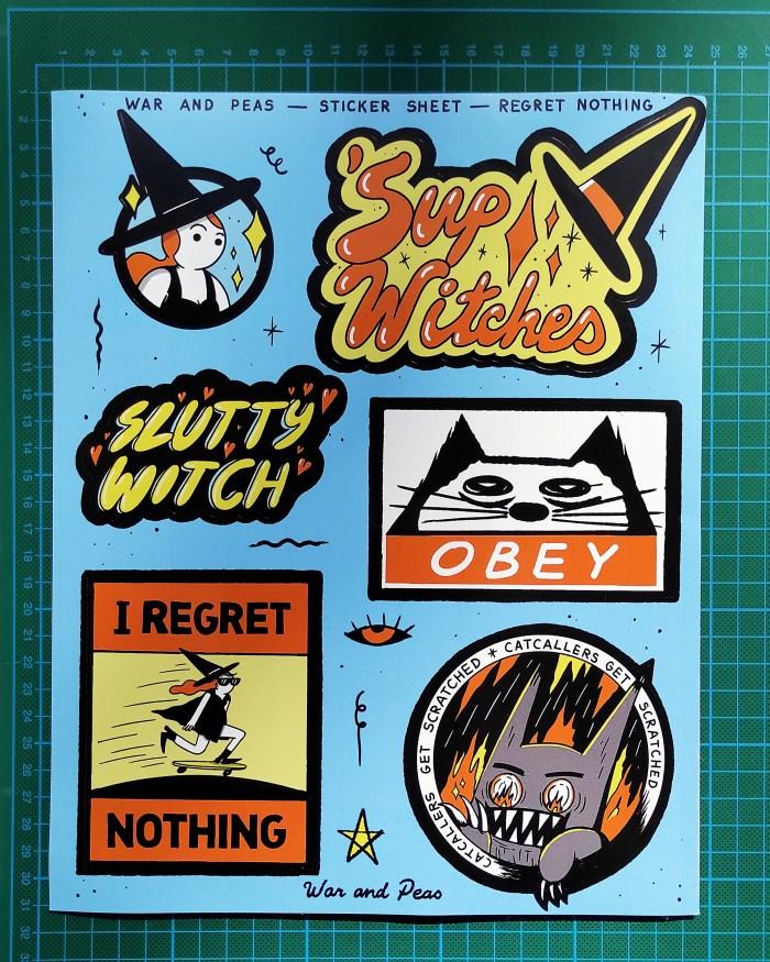 War and Peas - Sticker Sheet - Regret Nothing