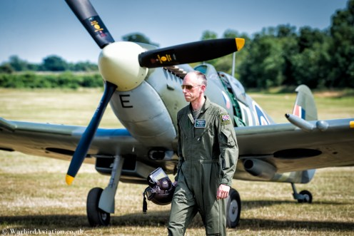 Pilot Jim Schofield after his flight at the controls of Spitfire AR501
