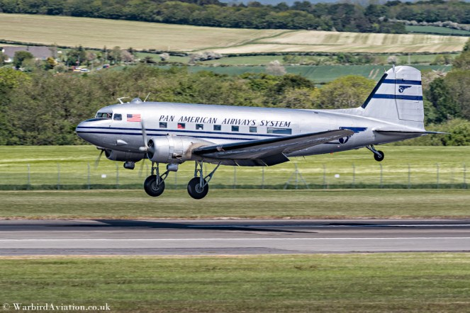 C-47 N877MG Pan American Airways Systems landing at Prestwick for Daks over Prestwick
