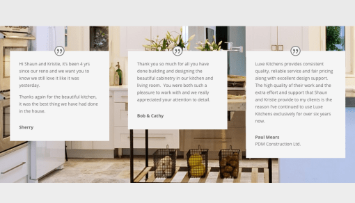 Single Page Website: Luxe Kitchens