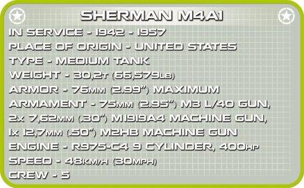 Cobi Sherman M4A1 Tank Set Spec Sheet