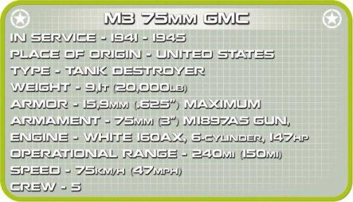 COBI M3 Gun Motor Carriage Set (2535) Tech Sheet