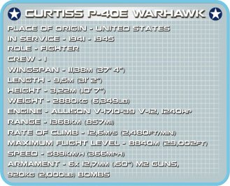 COBI CURTISS P-40E WARHAWK Set (5706) Specs