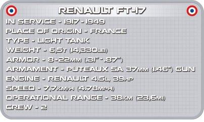 COBI Renault FT-17 Tank Set (2973) Specs