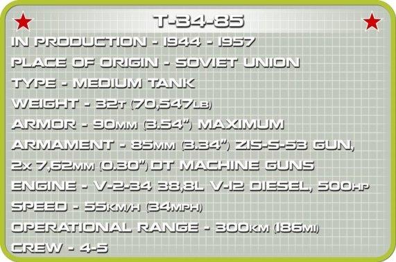 COBI 148 Scale T34 Tank (2702) Specs