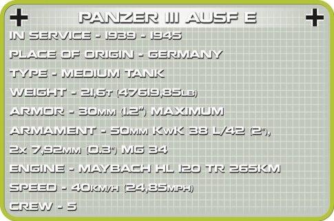 COBI Panzer III AUSF E Set (2707) Specs