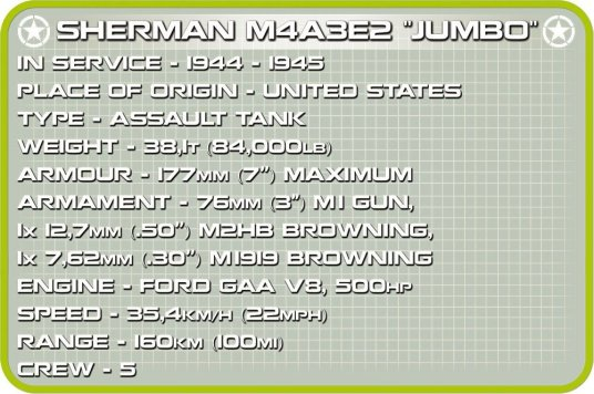 COBI Sherman M4A3E2 Jumbo History