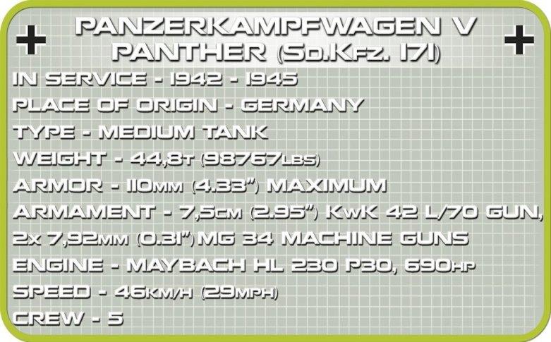 The COBI 148 Panzer V Panther (2704) Specs
