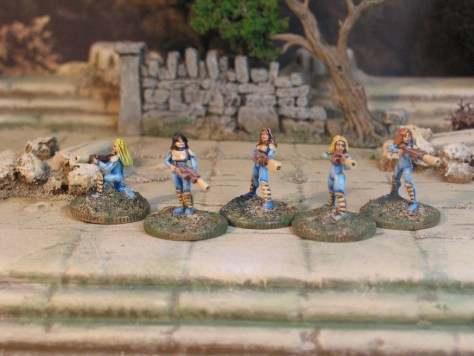 Khurasan Miniatures 15mm Female Auxiliaries in Light Armour with energy weapons