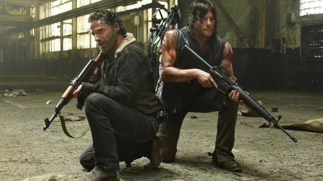 Andrew Lincoln as Rick Grimes and Norman Reedus as Daryl Dixon - The Walking Dead _ Season 5, Gallery - Photo Credit: Frank Ockenfels 3/AMC