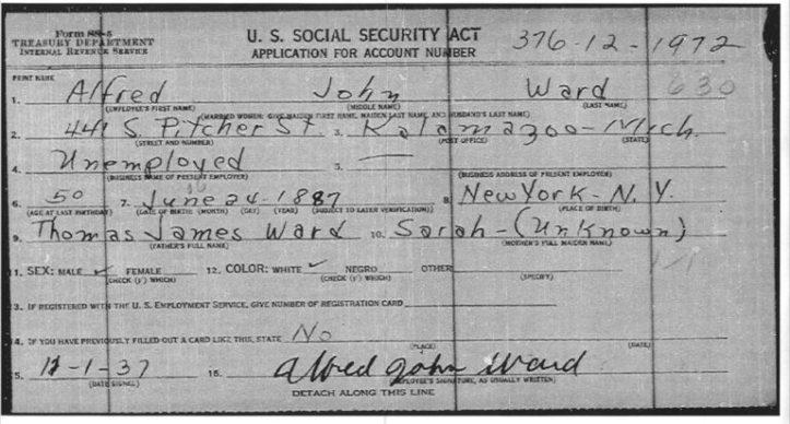 Alfred John Ward SS Application 01 Dec 1937 Kalamazoo MI copy web