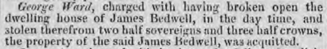George Ward of Aston burglary, acquitted, Oxford Journal, 8 Mar 1834 - britishnewspaperarchive.co.uk