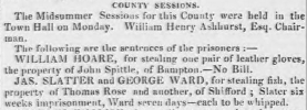 George Ward whipped and 7 days in jail for stealing fish at Shifford - Berkshire Chronicle, 7 Jul 1823