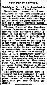 Bigelow Ferry Service between Brockville, Ontario and Morristown, New York 1908