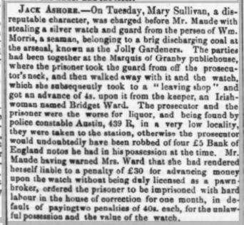 Bridget Ward, Irishwoman, warned for illegal pawnshop in Woolwich, Kentish Mercury, 16 Mar 1861, britishnewspaperarchive.co.uk