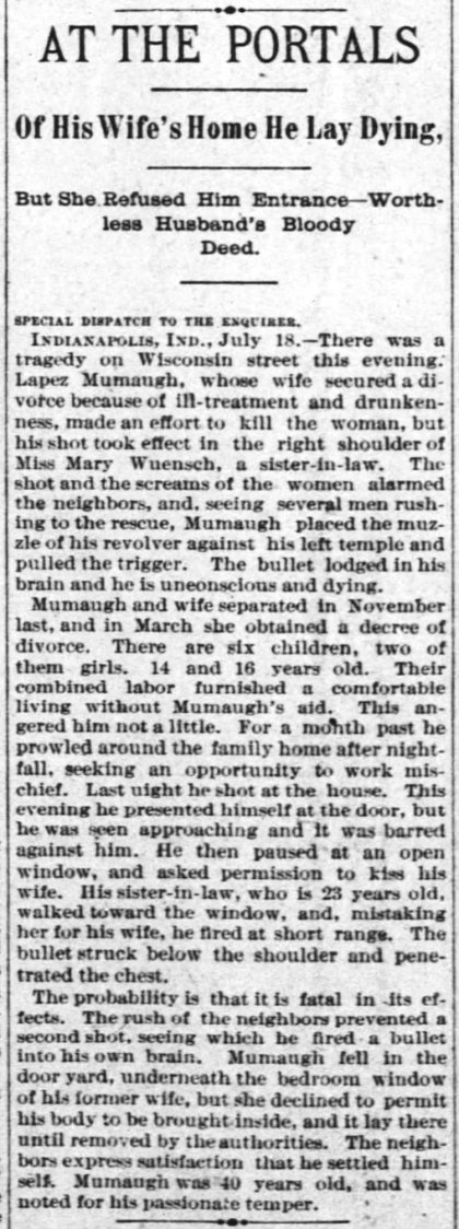 At the Portals of His Wife's Home, he lay dying. But she Refused him Entrance--Worthless Husband's Bloody Deed, 19 Jul 1893, newspapers.library.in.gov