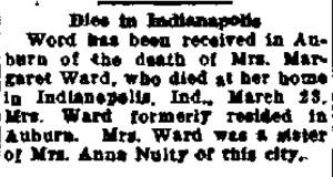 Margaret Styles Ward obituary, Auburn Citizen Advertiser, 13 Apr 1936