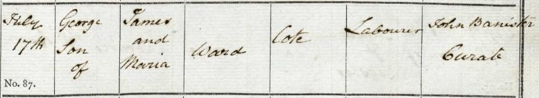 Baptism of George Ward at Bampton, son of James Ward and Maria, Cote, Oxfordshire 17 Jul 1814