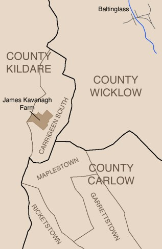Map of Styles locations near Baltinglass, 1830s-1840s