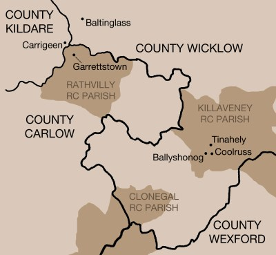 Edward Styles family locations, Counties Wicklow, Wexford, Carlow and Kildare, 1820s-1880s, Map of Styles locations near Baltinglass, 1830s-1840s, © E R Lopresti 2016