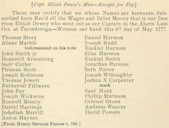 Capt. Elijah Dewey's--Men Receipts for Pay, Fort Ticonderoga, 6 May 1777