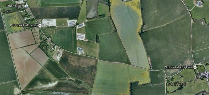 Aerial view of the Road from Cote to Shifford Oxfordshire