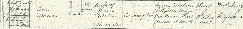 Ann Watson, age 50, wife of James Watson shoemaker, death certificate 29 Sep 1842, 1 Eatley's Buildings, Chelsea, Middlesex