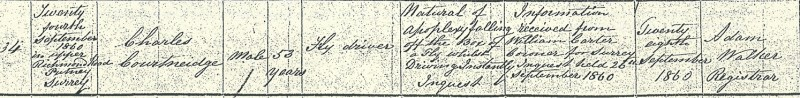 Charles Courtneidge, death certificate, 1860 Putney