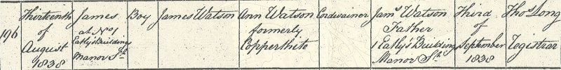 James Watson, birth certificate, 13 Aug 1838, Chelsea St. Luke