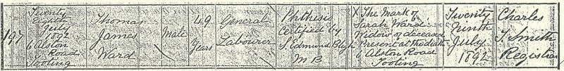 Thomas James Ward, death Certificate, 28 Jul 1892, 6 Alston Road, Tooting