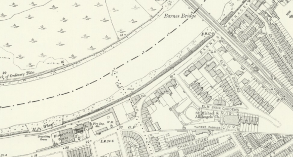 Ordnance Survey map, 1910, showing White Hart Lane and Barnes Terrace, Surrey, reproduced with the permission of the National Library of Scotland