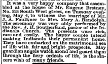 Mary A Randolph JA Faulkner marriage 8 May 1875