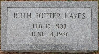 Ruth Potter Hayes (1903-1986) tombstone St Joseph's Cemetery Auburn NY