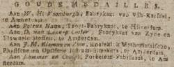 """Goude Medailles"" [Petrus Haan], Amsterdamse courant, Amsterdam, 03-10-1809"