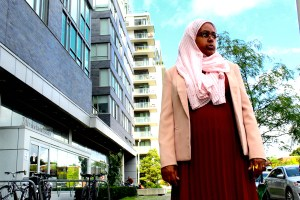 Sureya Ibrahim standing outside her office at the TD Learning Centre in Regent Park