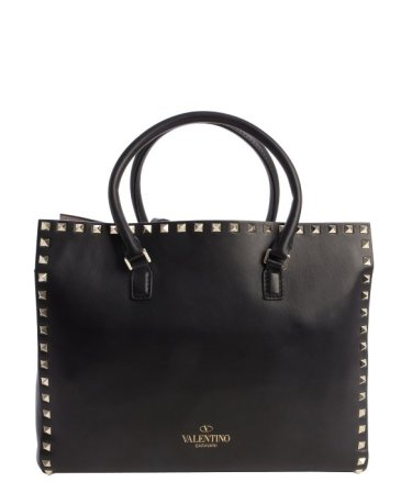 Valentino Black Leather 'Rockstud' Small Tote Bag $1716 Bluefly
