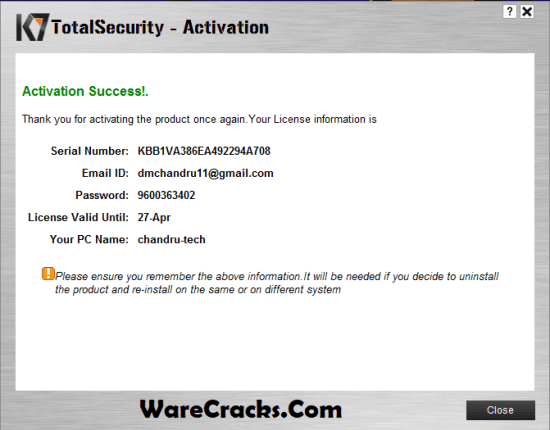 K7 Total Security 2019 Activation Key