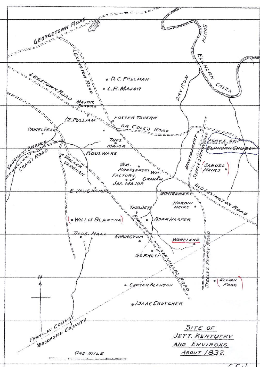 Map provided courtesy of david nance and the forks of elkhorn baptist church records