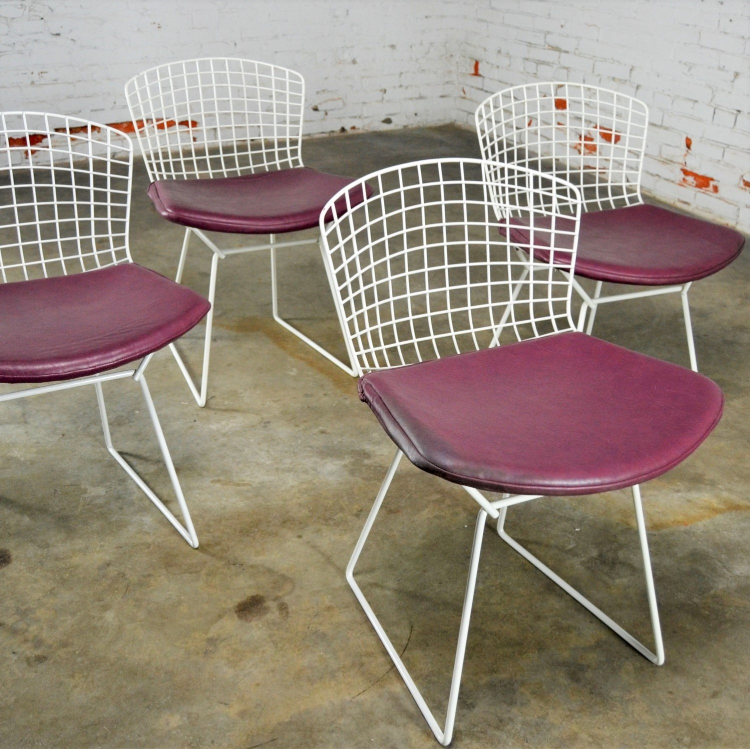 Vintage Mid Century Modern Bertoia White Wire Side Chairs W Purple Seat Cushions Warehouse 414