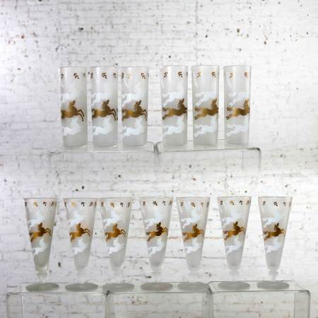 MCM Cavalcade by Libbey Galloping Horse Cocktail Glasses Gold White Pilsner Tom Collins